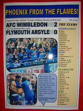 AFC Wimbledon 2 Plymouth 0 - 2016 League Two play-off final - souvenir print
