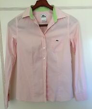 Lacoste Womens Pink/ Neon Green Fitted Dress Shirt - Size: 38