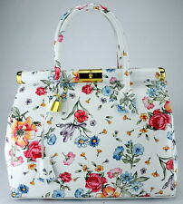 Genuine leather woman handbag tote shoulder hobo bag.Made in Italy.WHITE+FLOWERS