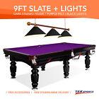 NEW 9FT LUXURY PURPLE SLATE POOL/BILLARDS/SNOOKER TABLE WITH BLACK METAL LIGHT