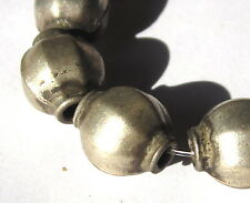 6 RARE OLD AMAZING COLLARED MELON SILVER TRADE BEADS