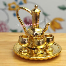 Dollhouse Miniature 1:12 Toy 5 PCS Metal Golden Tea set L-106