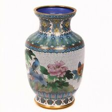 CLOISONNE CHINESE VASE FLORAL PATTERN, GOLD TRIM, GOOD CONDITION
