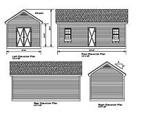 SHED PLANS 24'X12' DRAWINGS BLUEPRINTS SHED 12'x24' GABLE 2412GBL