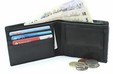 Men's High Quality Black Real Leather Bi-fold Wallets With Mini Card holder NA11