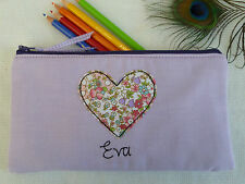 Handmade Personalised Heart Pencil Case choice of wording vintage floral & lilac