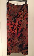 NYPL COLLECTION Import Black Gold Floral Slinky Traveler Straight Skirt Plus 2X