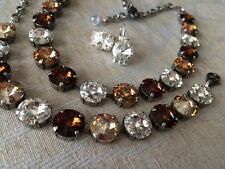 Fall Swarovski crystal elements Necklace Bracelet Earring 12mm Jewelry Set Brown