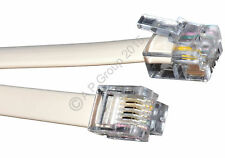 15m RJ11 To RJ11 Cable Lead 4 Pin ADSL BROADBAND Router Modem Phone 6p4c WHITE