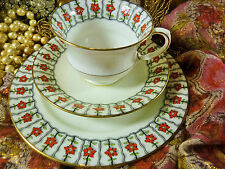 AYNSLEY TEA CUP AND SAUCER TRIO WHITE WITH HP RED ENAMEL FLOWERS TULIP  c1890