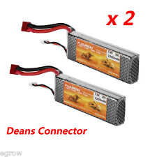 2x 7.4V 2200mAh 2S 30C Deans Lipo Battery Pack For RC Helicopter Car Truck Hobby