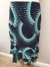 Classic's - Navy Blue & Green Flared Panelled Skirt - Size 20 - NEW