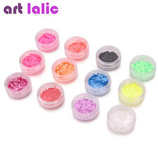 Ultra Thin Neon Colors Nail Art Shapes Sequins UV Gel 12 Pots Acrylic Tips