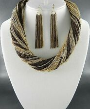 Two Tone Of Brown And Gold Links Multi Strand Necklace Earring Set