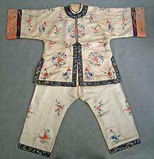 Antique Chinese Qing Dynasty Women's Embroidered Silk Robe Jacket & Trousers