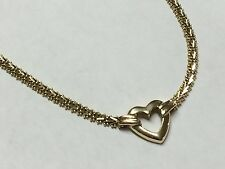 """14K Yellow Gold Wheat Chain Necklace w/ Heart Pendant (17.75"""") - 14.7 Grams"""