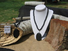 """Handmade large lava pendant necklace with lava beads, silver plated clasp, 18"""""""
