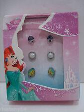 Disney Princess Little Mermaid Flounder/Seashell and Pearl Earrings 3 Pc.Set NIB