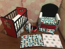 Barbie Baby Nursery Set Furniture Crib, Baby Bottle,Sofa ,Carrier. Tsum Tsum