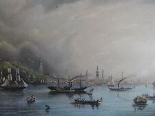 Hamburg. Von der Elbe aus gesehen. Kolor. Stahlstich 1841 n Sander von A H.Payne
