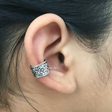 925 Sterling Silver Tribal Floral Ear cuff Earring No Piercing Clip on Boho NEW