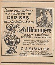 Z8226 La Ménagère - Ceriser - C. Simplex - Pubblicità d'epoca - 1927 Old advert