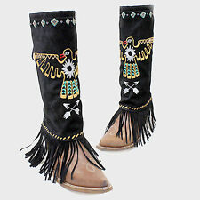 Black Aztec Bird Suede Fringe Boot Toppers Boot Covers 283318