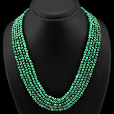 AWESOME 387.00 CTS EARTH MINED GREEN EMERALD ROUND BEADS NECKLACE $$ - GEM EDH