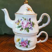 Ganz Tea For One Stacking Teapot Cup & Saucer---Roses and Flowers