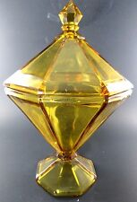 "VINTAGE AMBER GLASS CANDY DISH WITH LID 8"" TALL (E16)"