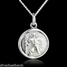 "St Christopher 925 Sterling Silver Pendant + 18"" Inch Silver Curb Chain (Saint)"