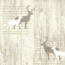 Wood Panel Cladding Calligraphy Cream - Arthouse VIP Stag Wallpaper 623001