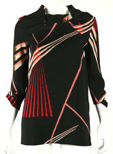 MARNI Black & Multi-Color Abstract Geometric Print Crepe Blouse 38
