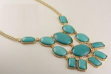 Teal Acrylic Stone Chunky Gold Necklace