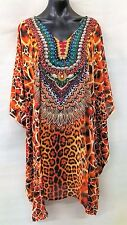 SHEER DIGITAL PRINTED EMBELISHED TUNIC/KAFTAN SIZE 18-20-22-24-26 FREE POST
