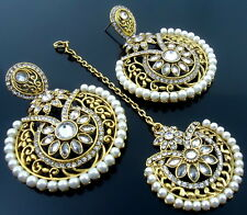 WHITE PEARLS CZ AD GOLD TONE EARRINGS TIKKA SET BOLLYWOOD PARTY WEAR JEWELRY