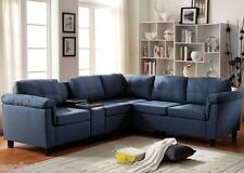 Cleavon Blue Linen & Espresso PU Sectional Sofa W/ Console Living Room Furniture