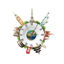 DIY 3D Wall Stickers Clock World Earth Wall Decal Clock 3D Art Wall Clock