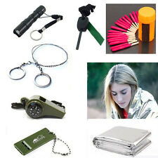 Camp SOS Survival Kit Gear Blanket Fire Flint Wire Saw Matches Torch Flashlight
