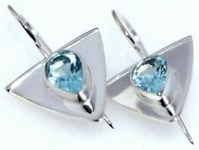 Genuine Blue Topaz Earring Shiny 925 Sterling SILVER dangle Earrings Birthstone