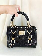 """VERSACE COUTURE Black Patent Leather MADONNA """"Snap Out Of It"""" Handbag, Gold Trim"""