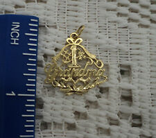 #1 GRANDMA 14K GOLD CHARM FOR NECKLACE CHARMS VINTAGE JEWELRY NOT SCRAP MUST SEE