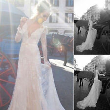 2016New Vintage Inbal Dror Backless Long Sleeves Lace Wedding Dress Bridal Gown