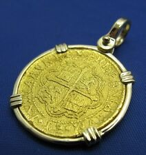 Shipwreck SOLID 24k Gold Escudo Replica  Pirate Coin Pendant With 14k Gold Bezel