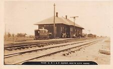 White City Kansas KS Chicago Rock Island Pacific Railroad Train Depot RPPC