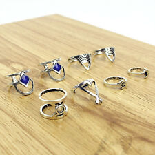 8PCS Vintage Silver Boho Tribal Ethnic Ring Hippie Gothic Set Above Knuckle Ring