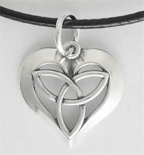 Trinity Celtic Knot Heart Pendant Small Solid .925 Sterling Silver Leather Cord