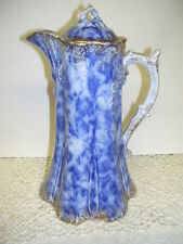 LARGE ANTIQUE PITCHER FLOW BLUE WARWICK CHINA CHOCOLATE POT