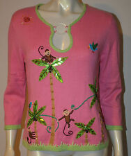 BEREK Pink Monkey Coconut Palm Tree Tropical Bird Sweater L