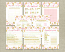 Blush Pink & Gold Glitter Dots Baby Shower Games Pack - 8 Printable Games
